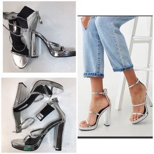 NWT Forever21 Sexy Silver Chunky Block Heel, sz 7